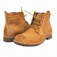 Quality Men's High Boots, British Pop Style, Leather Winter Shoes, Wearable Rubber Sole, Men's Leisure Shoes  for sale