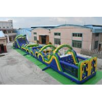 Quality 100ft outdoor giant adult inflatable obstacle course equipment with slide rentals for sale