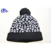 Quality Black And White Adult Knitted Beanie Hats for sale
