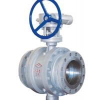 Buy 3 Way Cast Steel Ball Valve / 4 Inch Flanged Ball Valve PN 25 Worm Gear at wholesale prices