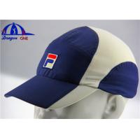 Quality Blue / White 100% Polyester Woven Running Sport Caps With Flat Embroidery for sale
