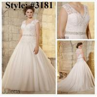 Quality Straps Aline Plus size Beaded sash bridal gown#3181 for sale