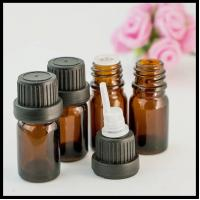 China 10ml Brown Essential Oil Glass Bottles With Anti Theft Black Head Inner Plug on sale