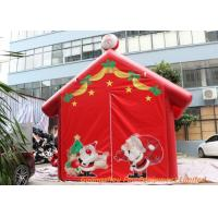 Quality Red 0.45mm Plato PVC Tarpaulin Inflatable Christmas Santa House For Decoration for sale