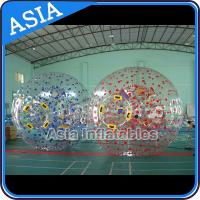 Quality 1.0mm PVC Used Land Zorbing Ball, Grass Zorb Ball With Color Strips for sale