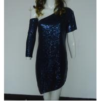 Quality Navy Bling Bling Sequin Club Dresses , Classy Club Evening Dresses Lightweight for sale