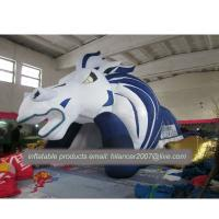 China Outdoor decoration giant inflatable tunnel and inflatable green red logo football helmet on sale
