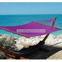 Quality Purple Micro Weave Caribbean Style Hammock With Marine Varnished Luxury Lauan Hardwood Bar for sale