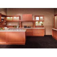 Quality Classic Wooden Grain Pvc Classic Design Kitchen Cabinet With Visible Handle for sale