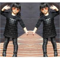 Quality Knit Black Winter Party Dresses For Girls , 7 To 8 Years Girl Dress Pu Leather Front for sale