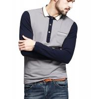 Quality Color Block Ribbed Mens Polo T Shirts With Sleeves Placket Unfunctional Pocket for sale
