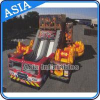 China Inflatable 5 in 1 Fire Rescue Truck Bouncer Obstacle Challenges With Double Slide on sale
