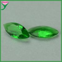China machine cut marquise shaped green clear crystal glass gem stones for sale
