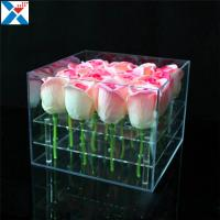 Buy Durable Square Acrylic Flower Box Makeup Organizer Rose Storage Cosmetic Case at wholesale prices