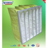 China Yellow Industrial Air Filters High Efficiency Multi Pockets Synthetic Bag on sale