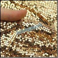 Quality Fashion Design Decorative Metal Sequin Fabric,Golden Drapery for sale