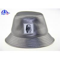 Quality Polyester PU Printed Bucket Hats With PU Badge Bucket Fishing Cap for Man for sale