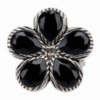 China Silver-plated Stretch Elastic Beaded Cocktail Ring, Featuring A Black Embellished Flower on sale