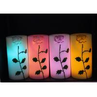 Quality Rose Carved Wedding Led Candles Battery Operated With Color Changing for sale