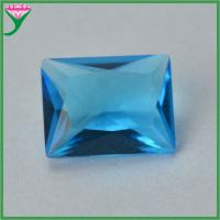 China Wuzhou Wholesale Sapphire Blue Rectangle Crystal Glass Gems for sale
