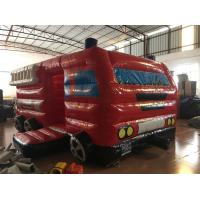 Quality Small Inflatable Fire Truck Bounce House Bus Shaped Red Colour 5 X 3 X 2.5m for sale