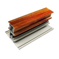 Quality T Shape Wood Finish Aluminium Profiles Length Customized For Glass Doors for sale