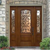 """Quality 1"""" thickness  wrought iron glass with 10*10 steel  in wooden door for sale"""