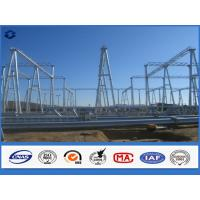 China Hot Dip Galvanized Steel Electrical Substation Structure Pole with Flange on sale