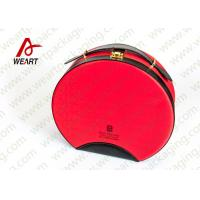 Quality Customized Red Round Makeup Organizer Box , Leather Handle Cosmetic Pouch Bag for sale