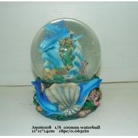 Quality Blue Polyresin Water Souvenir Snow Globes With Dolphin Bases 11 X 11 X 14 Cm for sale