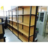 China Four Columns Metal And Wood Open Shelving , 50kg/ Layer Iron And Wood Shelving Unit on sale