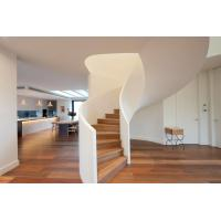Quality Modern Style Solid Wood Tread Curved Stair with Frameless Glass Railing for sale