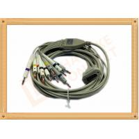 Quality 4.0 One Piece ECG Monitor Cable , Ecg Lead Cable 10 Lead Wires TPU Gray With Defibrillation for sale