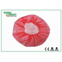 Quality Eco - Friendly Dental Disposable Hair Caps , Red Operating Room Caps With Polypropylene Materials for sale