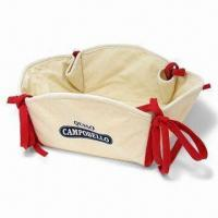 Quality Cotton Bread Basket with Natural White Body and Red Overlock Colors for sale