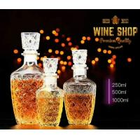 Buy 250ml 500ml Whiskey Glass Bottle Wine Container With Glass Lid Square Shape at wholesale prices