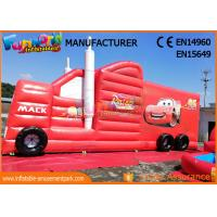 Quality Fun Truck Bounce House Inflatables Obstacle Course Red Fire Retardant for sale