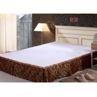 Quality Brown Color Hotel Bed Skirts With Jacquard Logo Special Design BS-0010 for sale