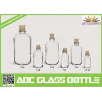 Quality 1/2oz 1oz 2oz 4oz 8oz 16oz Hot sale clear or frosted boston round glass bottle with Cork cap for sale
