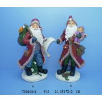 Quality Red Christmas Polyresin Figurine Santa Claus Statues 20.5 X 17 X 42 Cm for sale