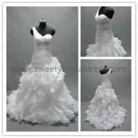 Quality Ball Gown One Shoulder Ruffles Beading Belt Organza Wedding Dress AS1338A for sale