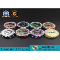 ABS Casino Poker Chips , Gambling Plastic Sticker Poker Chips Coins Yangming for sale