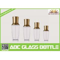 Quality Royal Design Series Empty Glass Cream Bottle With Pump And Golden Cap for sale