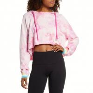 Quality Trendy Women'S Plus Size Tie Dye Shirts , Pink Cropped Drawstring Sweatshirt for sale