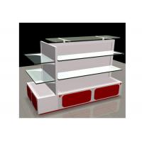 Quality White Gondola Shop Shelving With 2mm Thickness Glass Shelf , Recyclable Liquor Store Shelving for sale