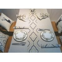 Quality Country Style Geometric Decorative Table Cloths Embroidered Linen Cotton Material for sale
