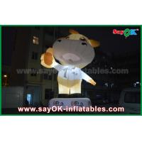 Quality Advertising 10m Giant Oxford Cow Inflatable Cartoon White Color With Led Light for sale