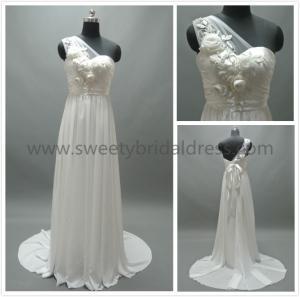 Buy cheap Sheath/Column One Shoulder Beading Flowers Chiffon Wedding Dress #LT2140 from wholesalers