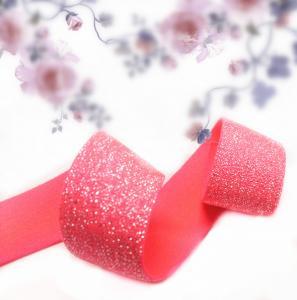 Quality Satin elastic crochet ribbon rolls silver foil dot for sale