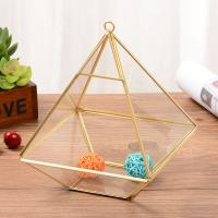 China Golden Fat Diamond-Shaped Geometric Glass Terrarium Small Size for Decoration for sale